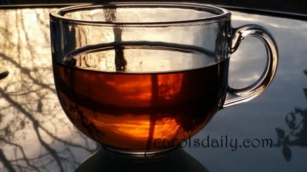 Sunrise through teacup